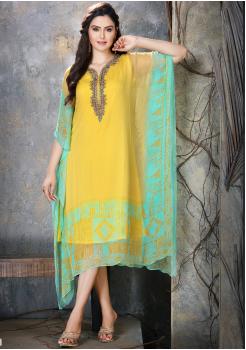 Yellow with Cyan Color Designer Chiffon Kurti