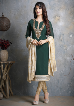 Green with Golden Georgette Designer Straight Cut Suit