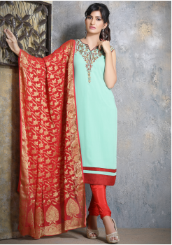 Firozi with Red Georgette Designer Straight Cut Suit