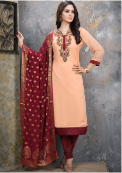 Peach with Maroon Georgette Designer Straight Cut Suit
