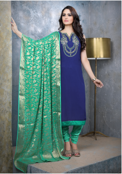 Royal Blue with Green Georgette Designer Straight Cut Suit