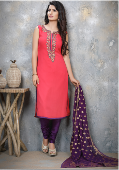 Dark Peach with Magenta Georgette Designer Straight Cut Suit