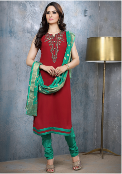 Maroon with Green Georgette Designer Straight Cut Suit