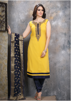 Yellow with Navy Blue Georgette Designer Straight Cut Suit
