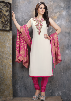 Off White with Pink Georgette Designer Straight Cut Suit