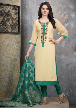 Beige with Green Georgette Designer Straight Cut Suit