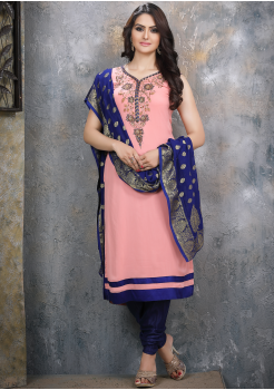 Baby Pink with Blue Georgette Designer Straight Cut Suit
