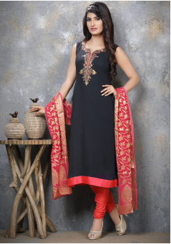 Navy Blue with Orange Georgette Designer Straight Cut Suit