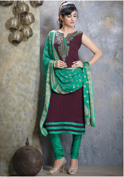 Wine Red with Green Georgette Designer Straight Cut Suit
