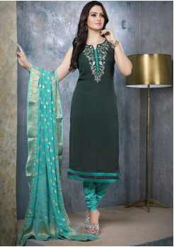 Black with Green Georgette Designer Straight Cut Suit