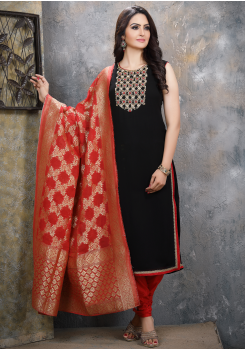 Black with Red Georgette Designer Straight Cut Suit