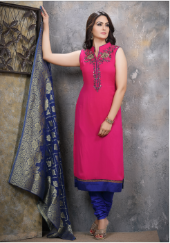 Rani Pink with Royal Blue Georgette Designer Straight Cut Suit