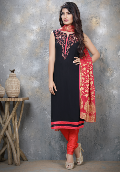 Navy Blue with Pink  Designer Georgette Straight Cut Suit
