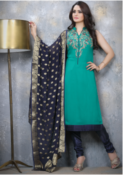 Green with Denim Blue Designer Georgette Straight Cut Suit