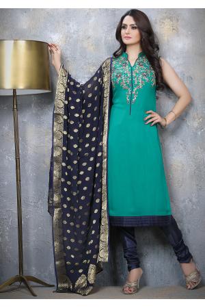 Green with Denim Blue Designer Georgette Straight Cut Suit