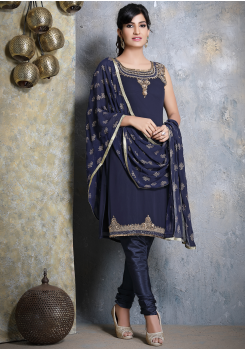Denim Blue Designer Georgette Straight Cut Suit