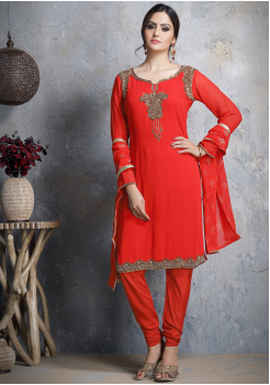 Red Designer Georgette Straight Cut Suit