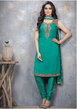 Rama Green Designer Georgette Straight Cut Suit