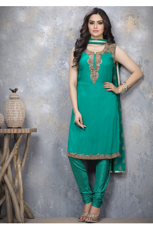 Rama Green Designer Georgette Straight Cut Suit