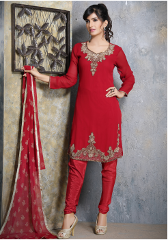 Red with Gold Designer Georgette Straight Cut Suit