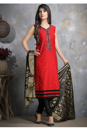 Red with Black Designer Georgette Straight Cut Suit