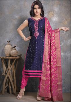 Indigo Blue with Pink Designer Georgette Straight Cut Suit