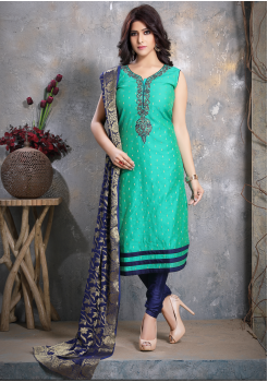 Cyan with Navy Blue Designer Georgette Straight Cut Suit