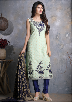 Off White with Blue Designer Georgette Straight Cut Suit