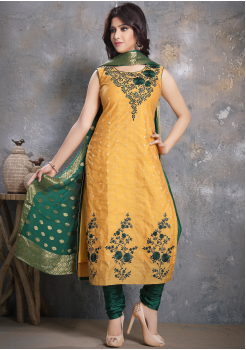 Yellow with Green Designer Georgette Straight Cut Suit