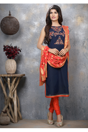 Blue with Red Designer Georgette Straight Cut Suit
