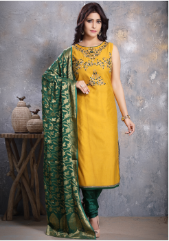 Yellow Designer Georgette Straight Cut Suit