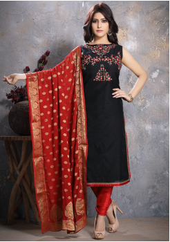 Black Designer Georgette Straight Cut Suit