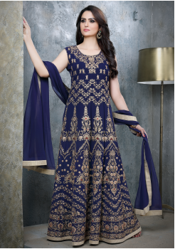 Navy Blue Color Viscose Party Wear Gown