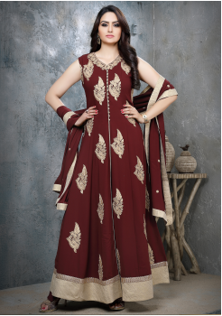 Pretty Maroon Color Viscose Party Wear Gown
