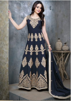 Designer Denim Blue Color Viscose Party Wear Gown