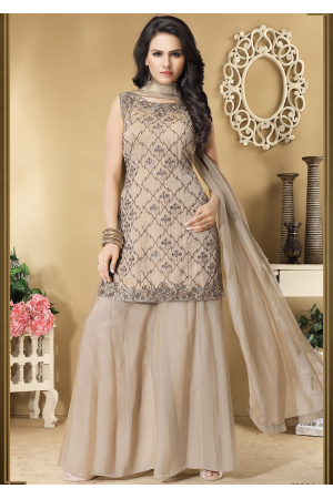 Beige Color Designer Silk Sharara suit