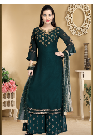 Dark Green Color Designer Georgette Palazzo suit