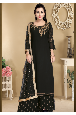 Black Color Designer Georgette Palazzo suit