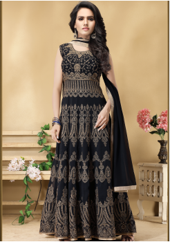 Designer Dark Navy Blue Color Georgette Party Wear Gown