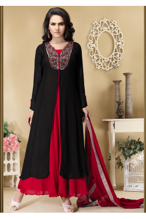 Designer Red with Black Color Georgette Party Wear Gown