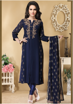 Navy Blue Color Designer Viscose Georgette Chudidar