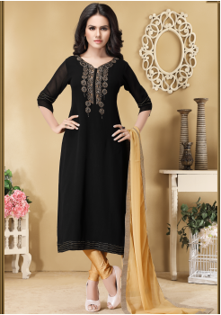 Black with Gold Color Designer Viscose Georgette Chudidar