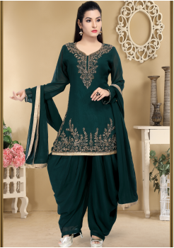 Deep Green Color Designer Georgette Salwar suit