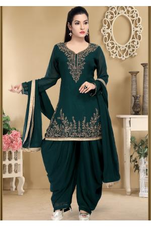 Deep Green Color Designer Georgette Salwar suit