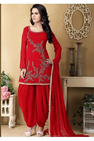 Red Color Designer Georgette Salwar suit