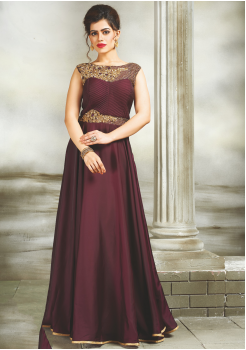 Brown Color Party Wear Designer  Gown