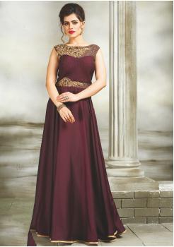 Dark Magenta Color Party Wear Designer  Gown