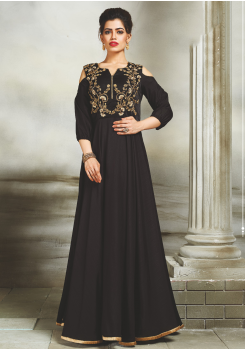 Black Color Party Wear Silk Designer Gown