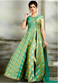 Green Color Designer Party Wear Gown