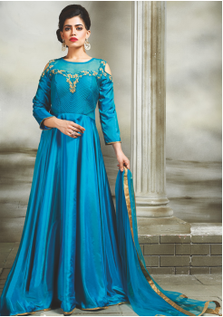 Cerulean Color Party Wear Designer Gown